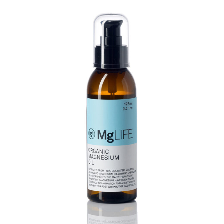 MGLife Magnesium Oil bottle 250ml on white background